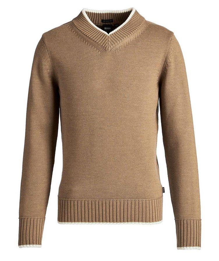 V-Neck Wool Knit Sweater image 0