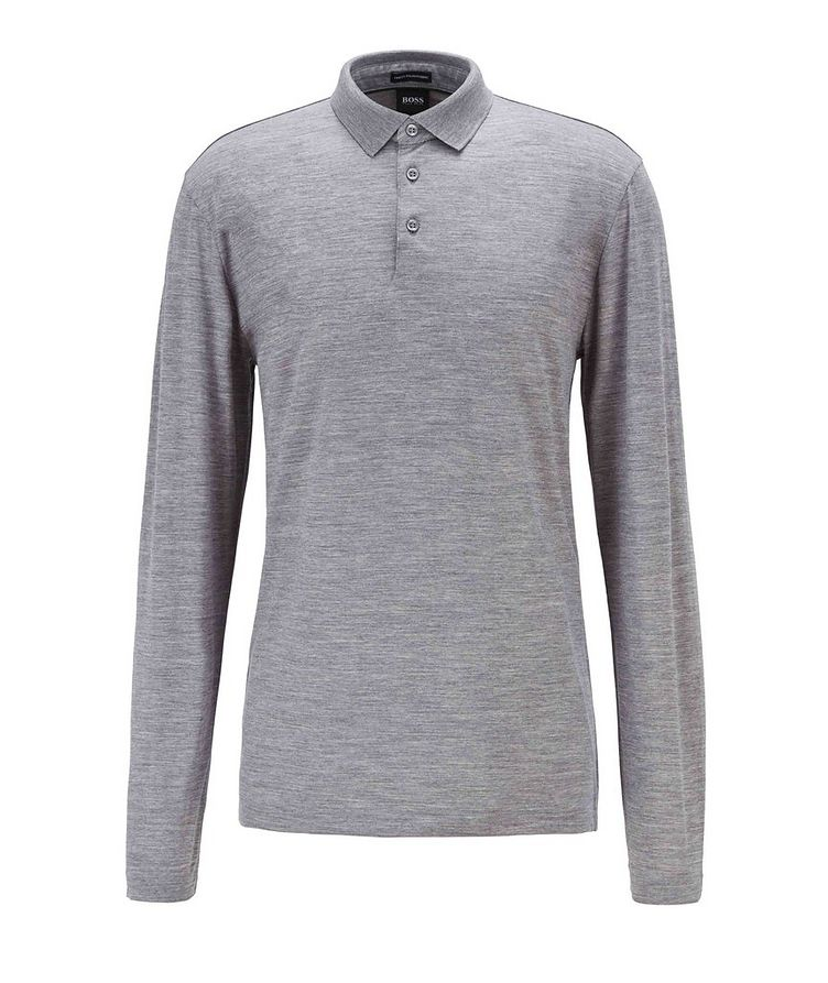 Long-Sleeve Traceable Wool Polo image 0