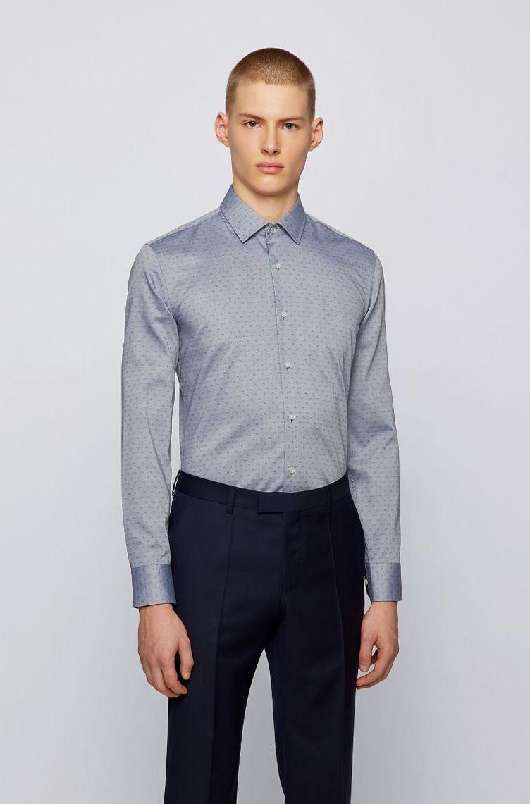 Slim-Fit Dobby Cotton Dress Shirt image 1