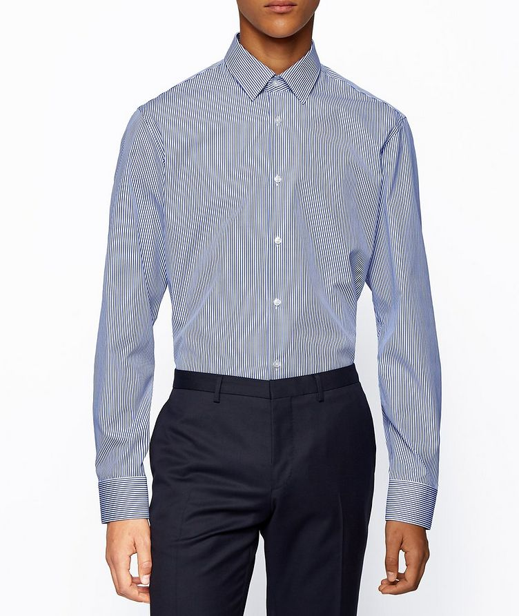 Contemporary-Fit Easy-Iron Striped Dress Shirt image 1