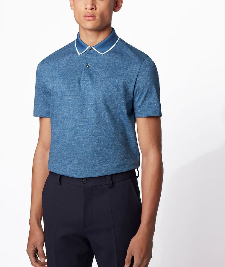 Slim-Fit Heathered-Cotton Polo image 1