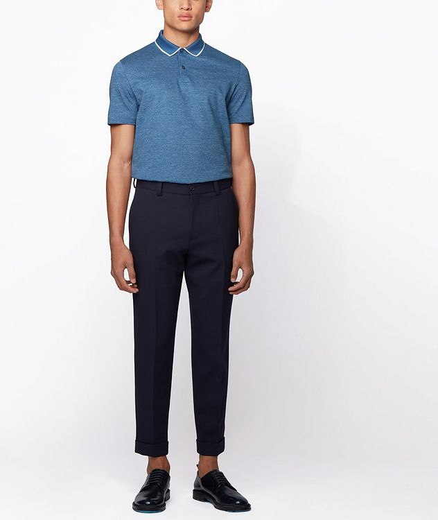 Slim-Fit Heathered-Cotton Polo picture 5