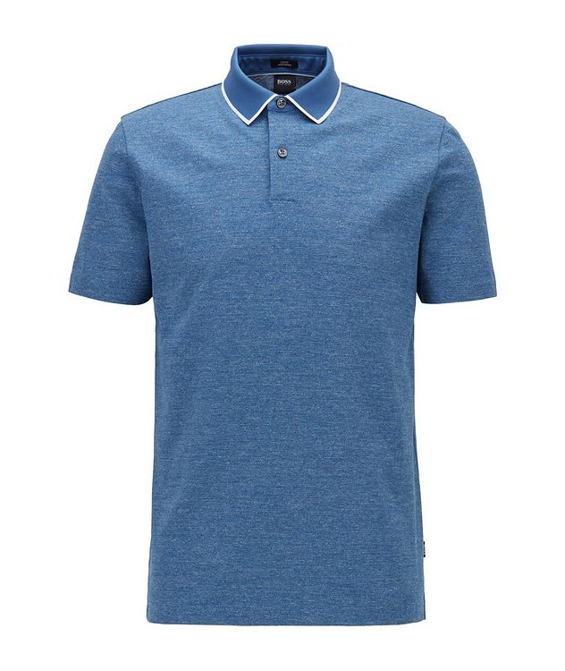 Slim-Fit Heathered-Cotton Polo picture 1