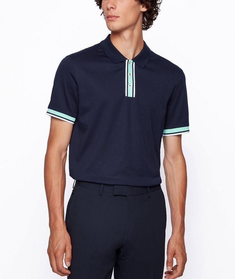 Slim-Fit Block-Striped Polo image 1