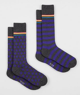 Paul Smith 2-Pack Printed Stretch-Cotton Socks
