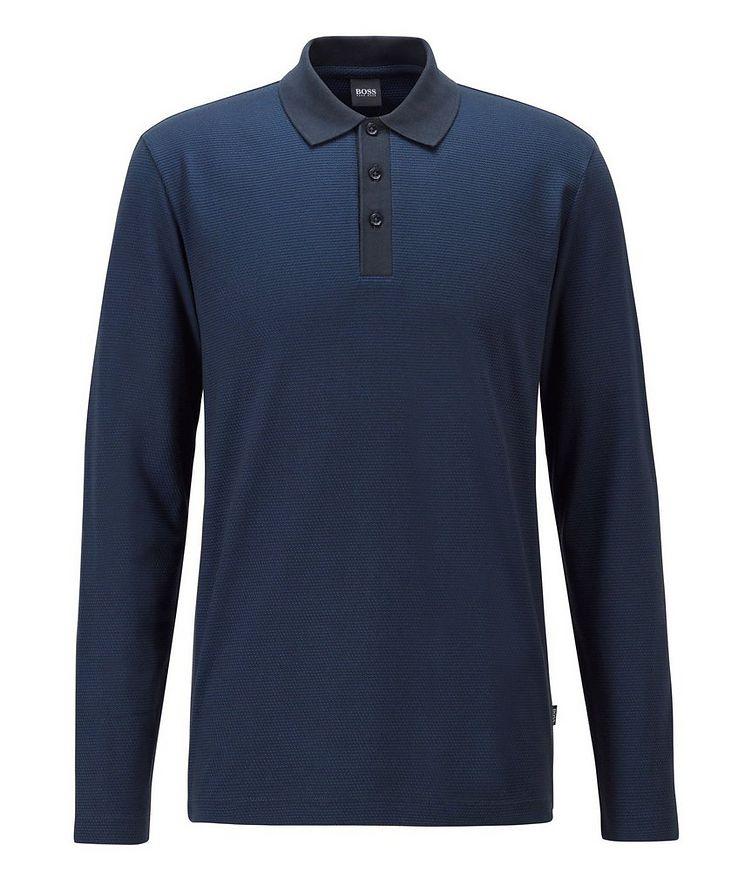 Long-Sleeve Cotton-Blend Polo image 0