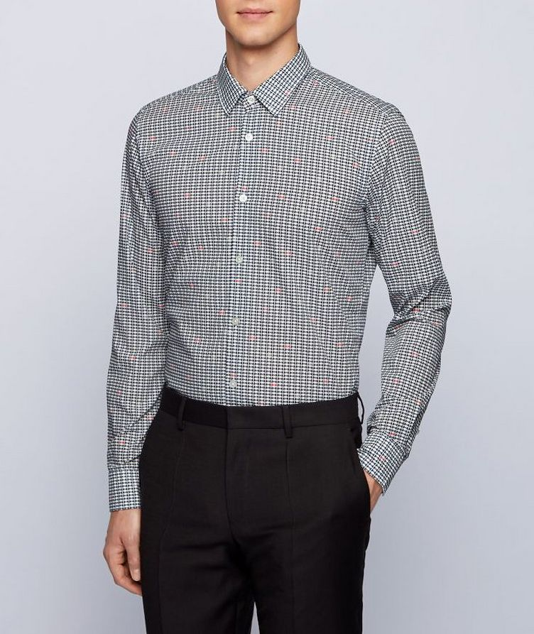 Slim-Fit Music Note-Printed Dress Shirt image 1