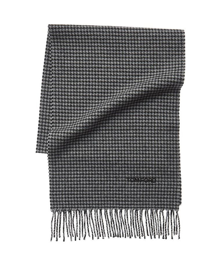 Houndstooth Print Wool-Cashmere Scarf image 0