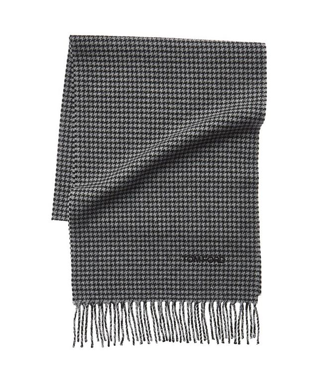 Houndstooth Print Wool-Cashmere Scarf picture 1