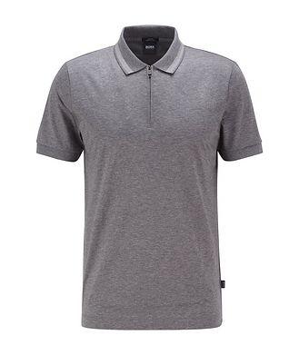 BOSS Half-Zip Slim Fit Cotton Polo