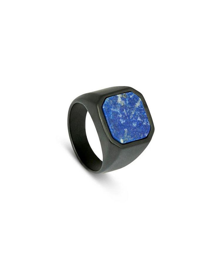 Ceramic Signet Ring with Lapis image 1