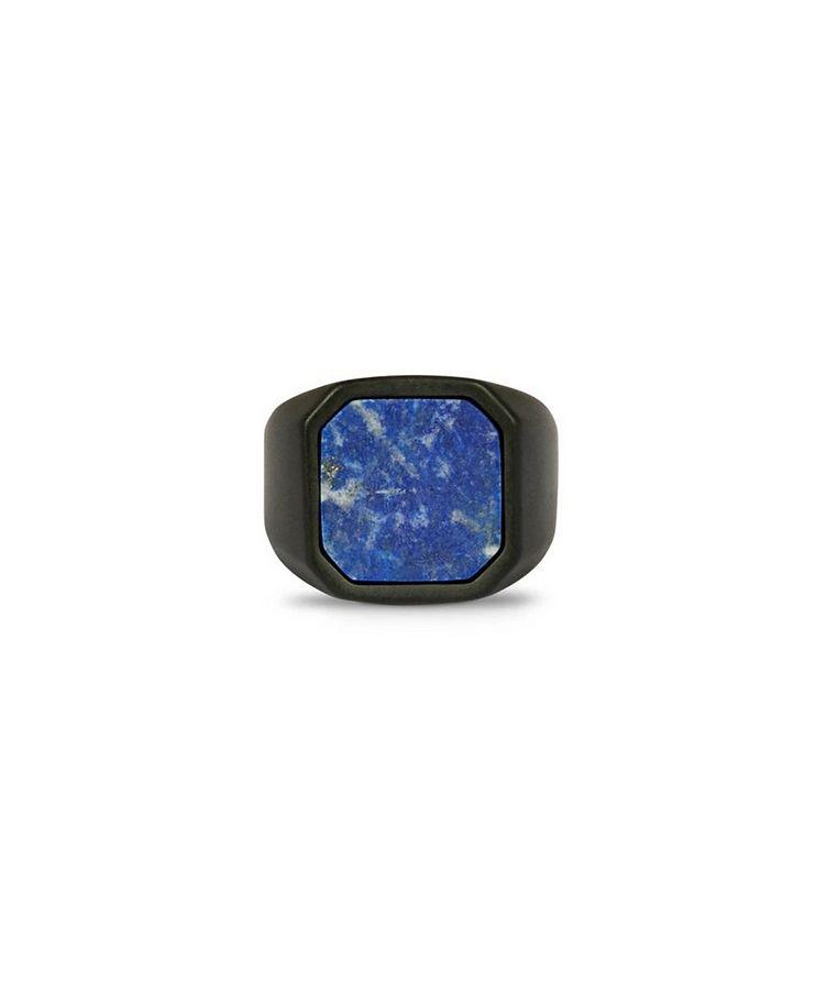 Ceramic Signet Ring with Lapis image 2