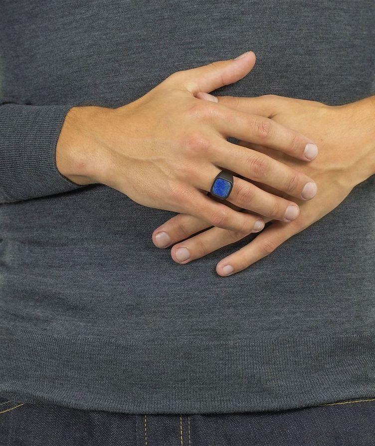 Ceramic Signet Ring with Lapis image 4
