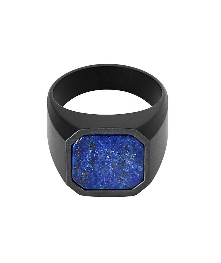 Ceramic Signet Ring with Lapis image 0