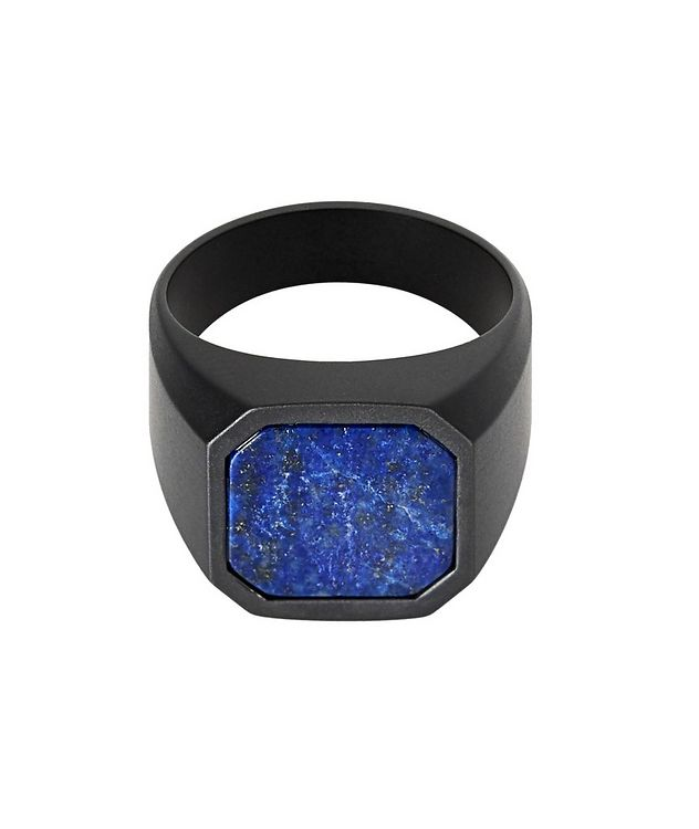 Ceramic Signet Ring with Lapis picture 1