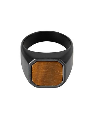Tateossian London Ceramic Signet Ring with Tiger Eye