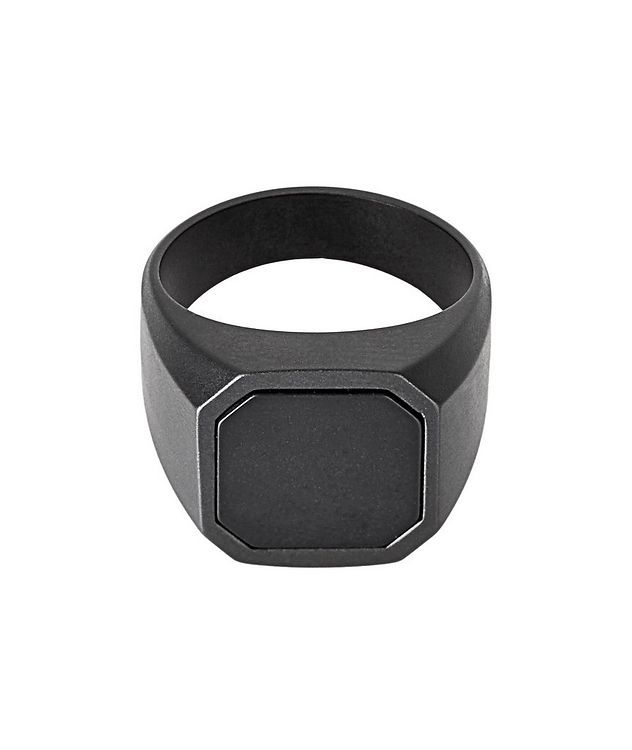 Ceramic Signet Ring with Onyx picture 1