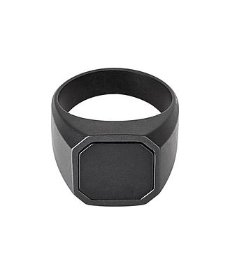 Tateossian London Ceramic Signet Ring with Onyx