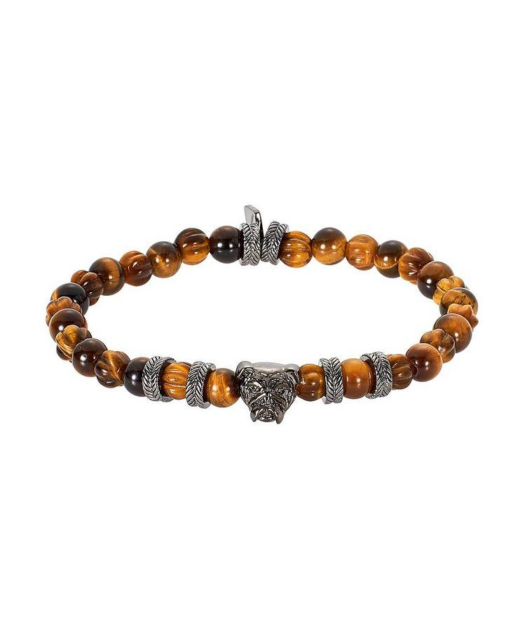 Bracelet de billes d'œil-de-tigre avec bouledogue image 0