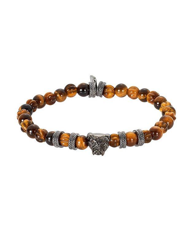 Bracelet de billes d'œil-de-tigre avec bouledogue picture 1