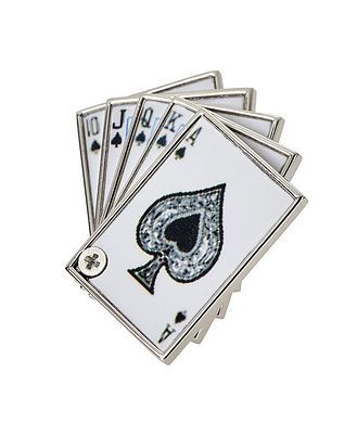 Tateossian London Royal Flush Cards Lapel Pin