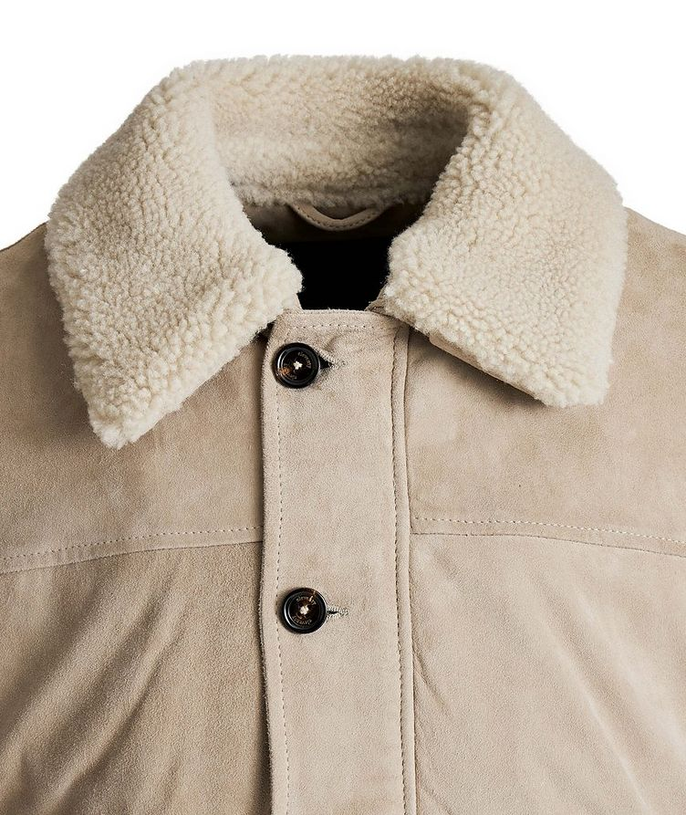 Suede-Shearling Bomber Jacket image 1