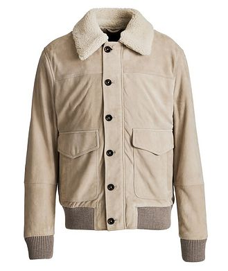 Eleventy Suede-Shearling Bomber Jacket