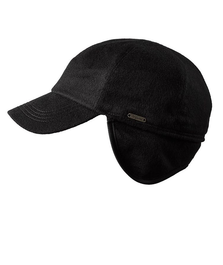 Cashmere Earflap Baseball Cap image 0