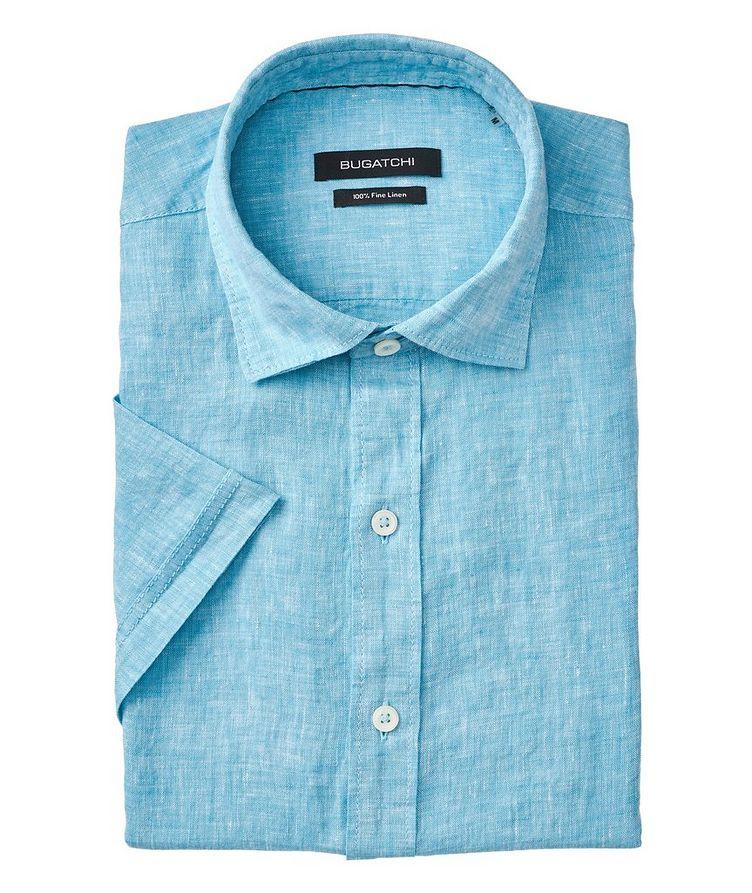 Chemise décontractée en lin à manches courtes image 0