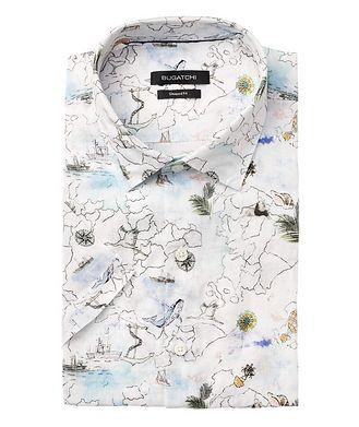 Bugatchi Short-Sleeve Printed Linen Shirt