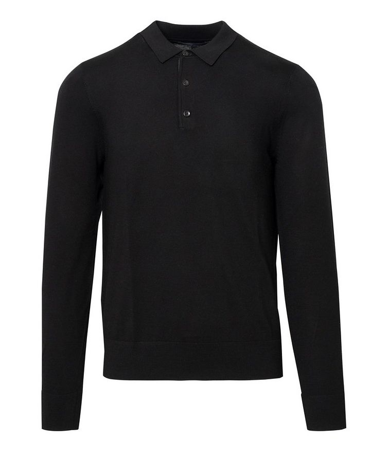 Long-Sleeve Wool Polo image 0