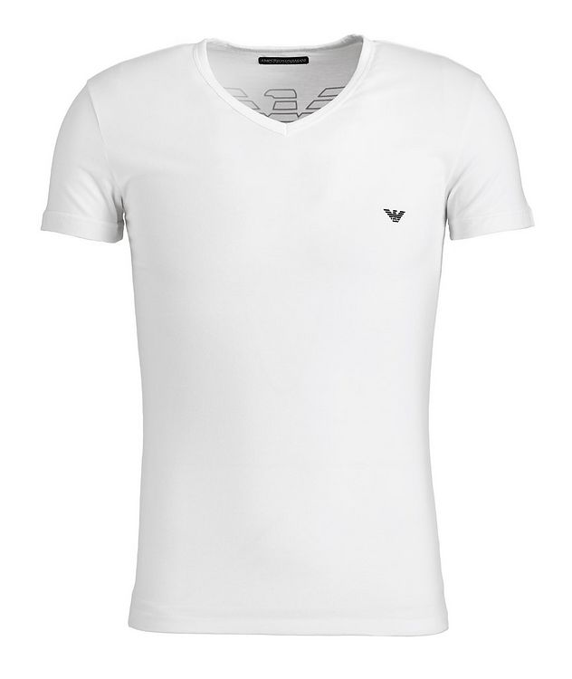 Stretch-Cotton V-Neck T-Shirt picture 1