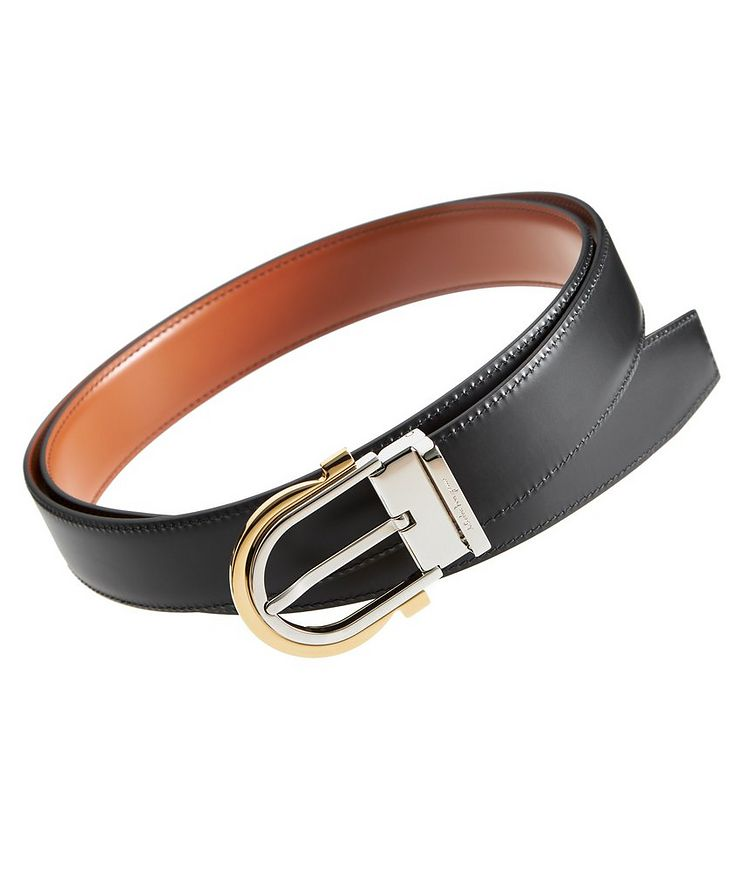 Reversible Gancini Leather Belt image 0