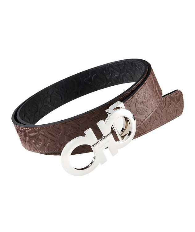 Reversible Double Gancini Embossed Leather Belt picture 1