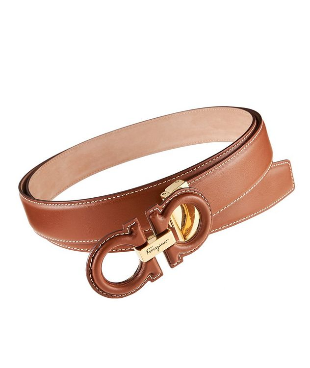 Double Gancini Leather Belt picture 1