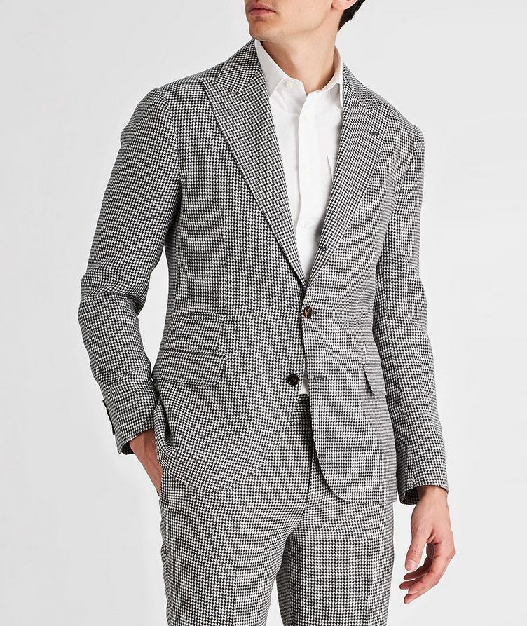 Houndstooth Linen, Wool, and Silk Sports Jacket image 1