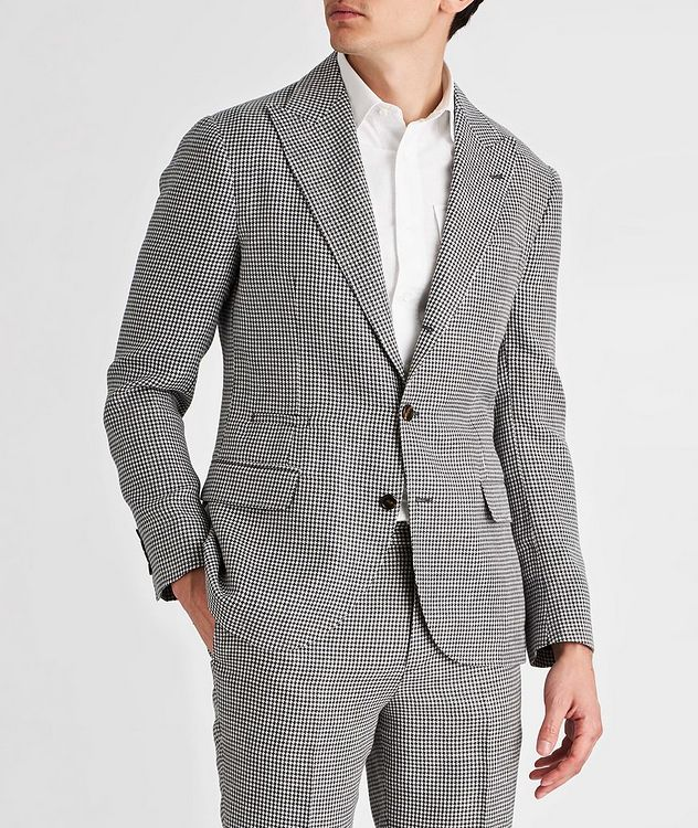 Houndstooth Linen, Wool, and Silk Sports Jacket picture 2