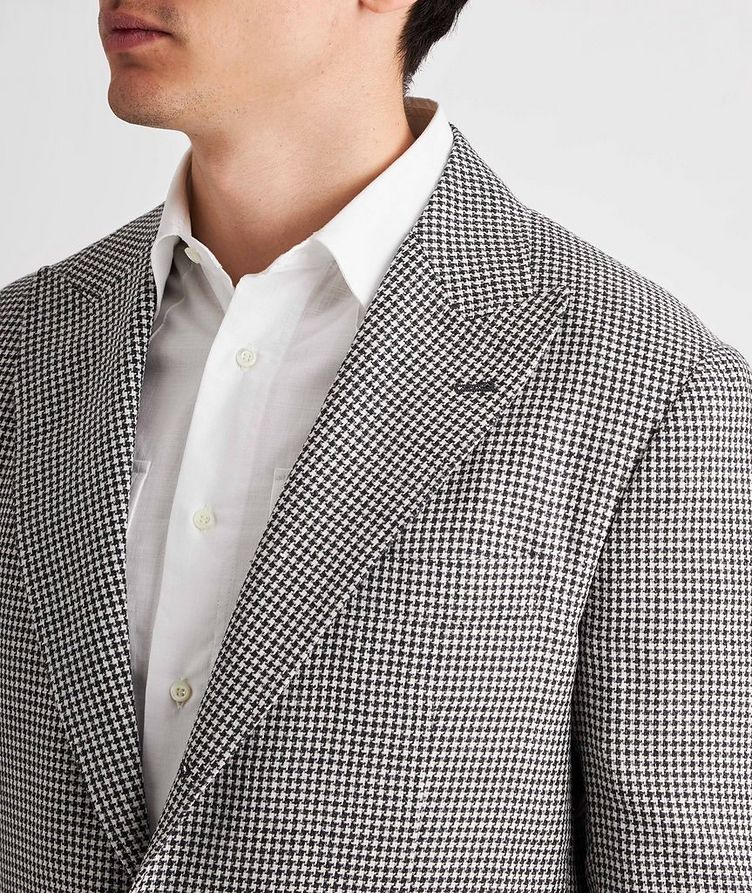 Houndstooth Linen, Wool, and Silk Sports Jacket image 3