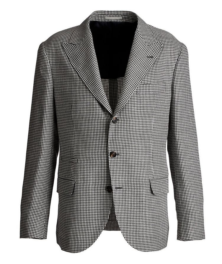 Houndstooth Linen, Wool, and Silk Sports Jacket image 0