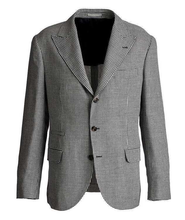 Houndstooth Linen, Wool, and Silk Sports Jacket picture 1