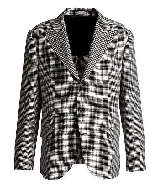 Brunello Cucinelli Houndstooth Linen, Wool, and Silk Sports Jacket