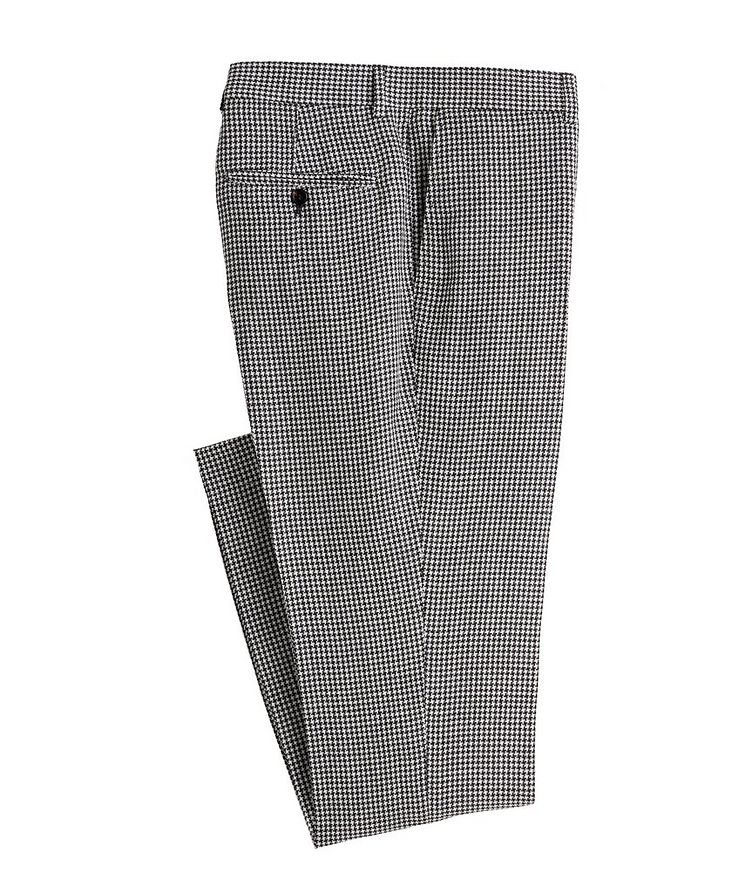 Contemporary Fit Houndstooth Linen, Wool, Silk Dress Pants image 0