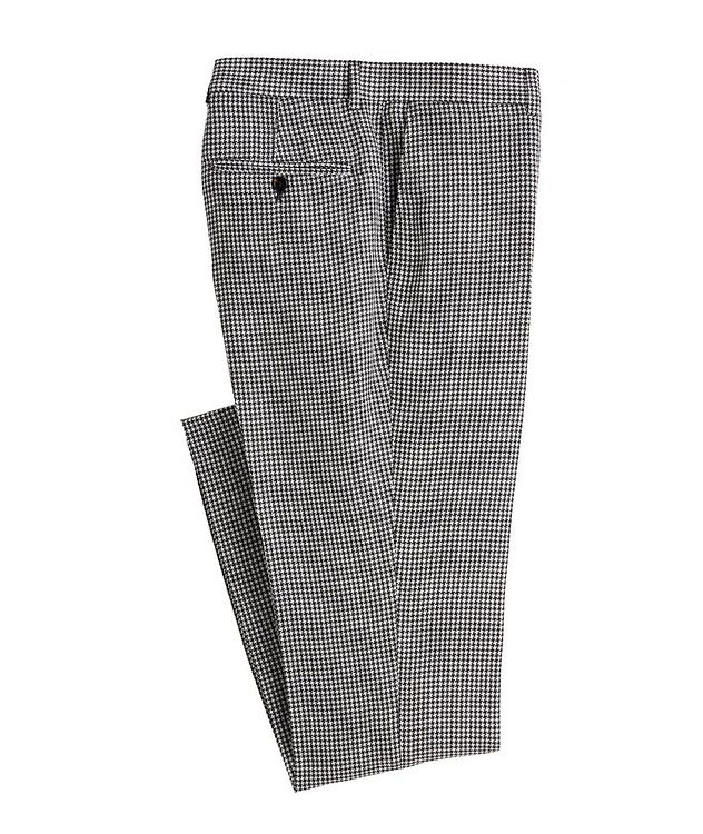 Contemporary Fit Houndstooth Linen, Wool, Silk Dress Pants picture 1