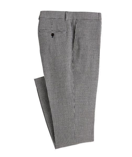Brunello Cucinelli Contemporary Fit Houndstooth Linen, Wool, Silk Dress Pants