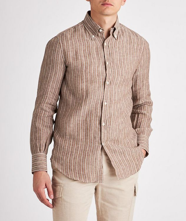 Contemporary-Fit Striped Linen-Blend Shirt picture 2