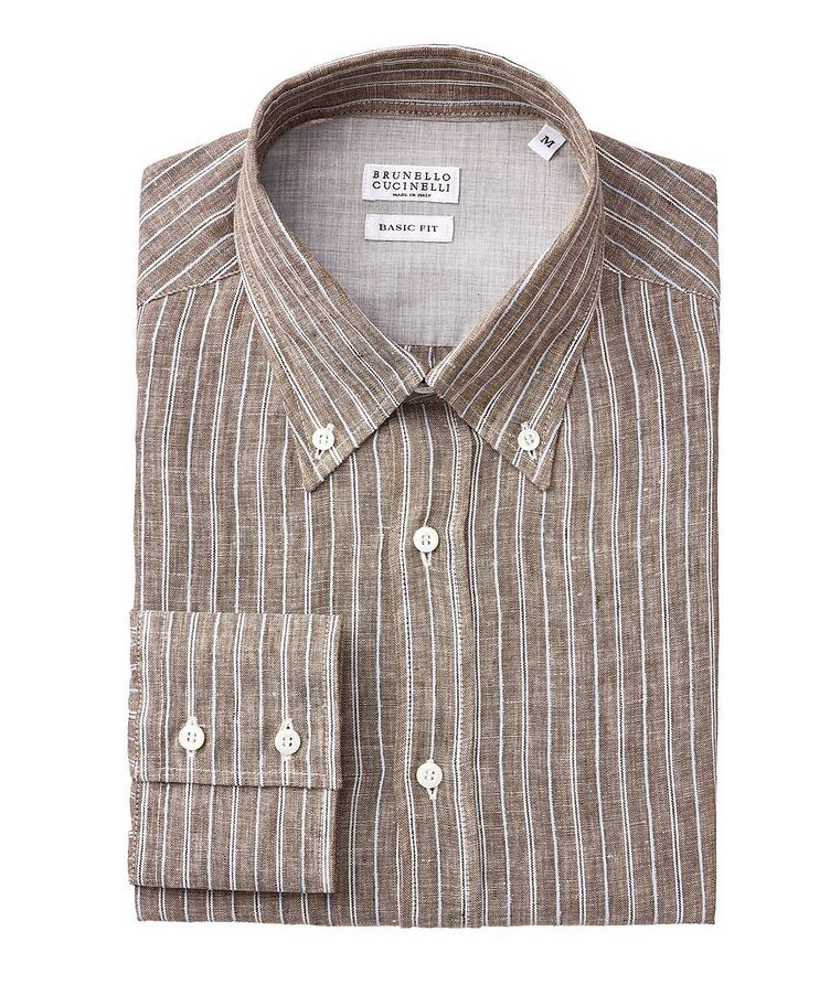 Contemporary-Fit Striped Linen-Blend Shirt image 0