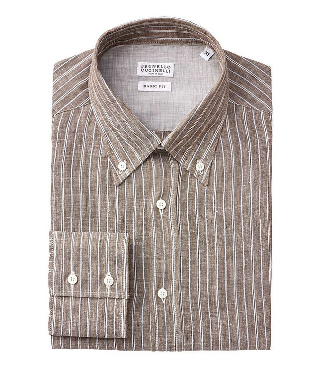 Contemporary-Fit Striped Linen-Blend Shirt picture 1