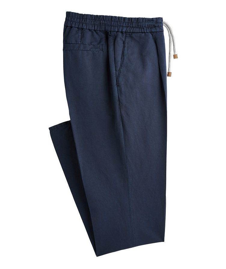 Drawstring Linen-Cotton Trousers image 0