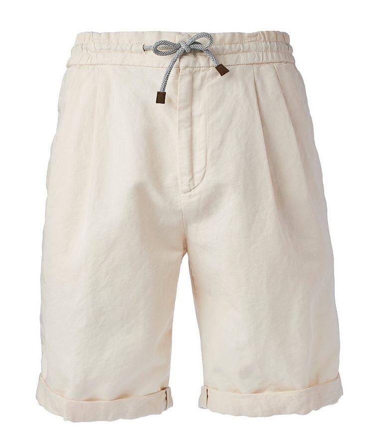 Linen-Cotton Drawstring Shorts image 0