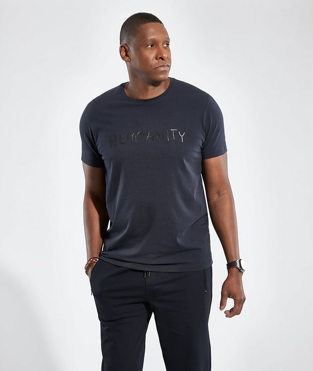 Navy HUMANITY Stretch-Cotton T-Shirt picture 2